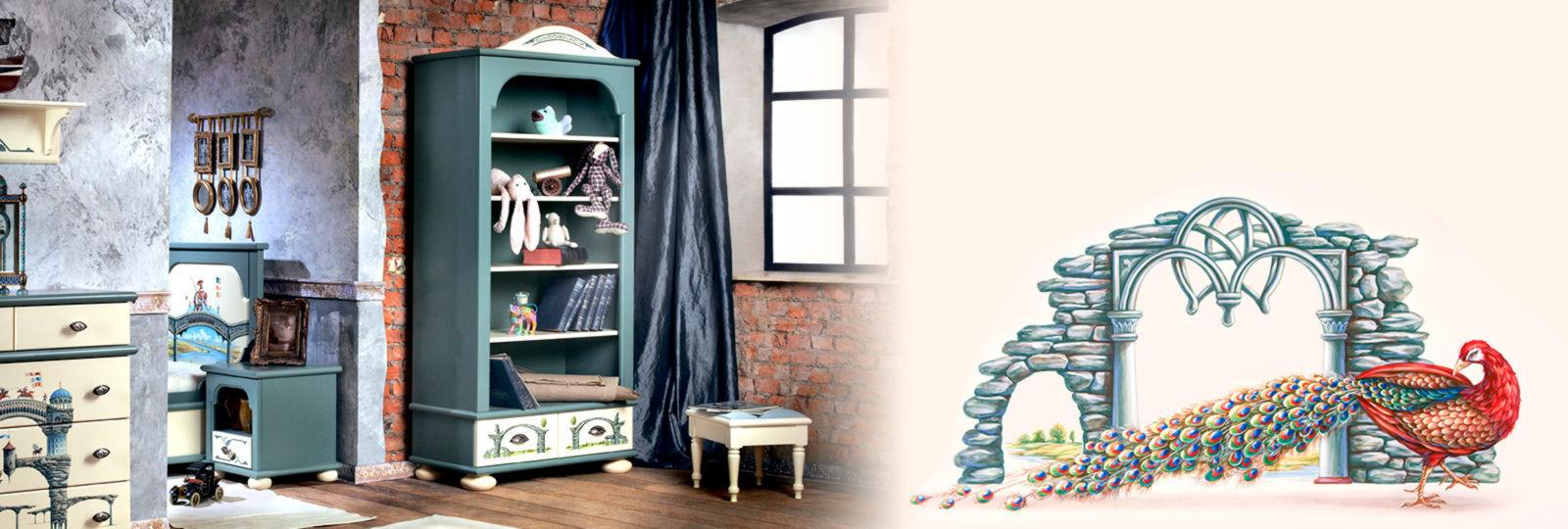 Большое разнообразие книжных шкафов, этажерок и тумб для детских комнат